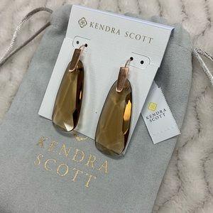 Kendra Scott Maize Rose Gold Earrings Smoky Glass
